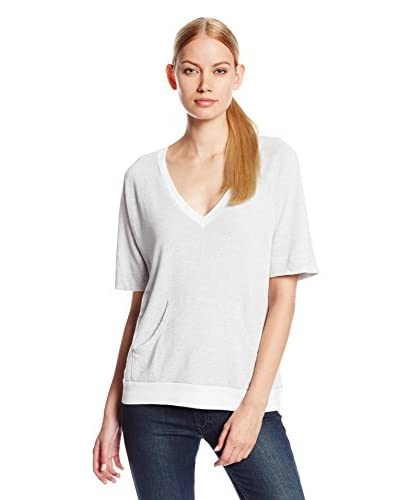 Three Dots Women's V-Neck Sweatshirt with Kangaroo Pocket