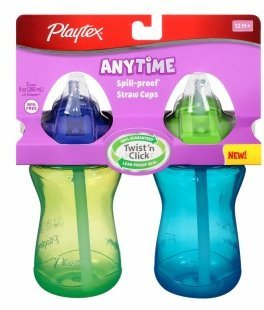 Playtex Lil' Gripper Anytime Spill-proof Straw Cups 2+ Years,9oz 2 Ea(pack of 2) (Playtex Lil Gripper Straw Cup compare prices)