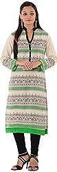 Kaashvi Creations Women's Cotton Straight Kurta (99901000000041-M, Green, Medium)