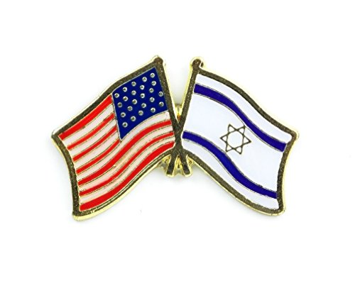 Metal Lapel Pin - American and World National Flag Crossed - Israel (World Flag Pins compare prices)