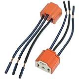 Amico 2 x H4 9003 Ceramic Wire Wiring Headlight Harness Sockets for Car Headlight