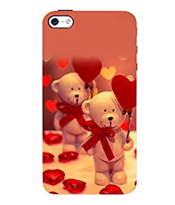 printtech Cute Teddy Heart Ribbon Back Case Cover for Apple iPhone 5::Apple iPhone 5S