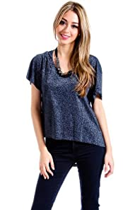 Double Zero Loose Top with Glitter in Navy