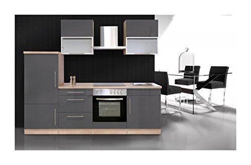 Küchenzeile 240 cm Sonoma Eiche / Hochglanz Grau
