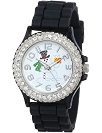 Geneva Women's 5573_xmasblacksnowman Holiday Boyfriend White Dial With Snowman And Crystals Watch