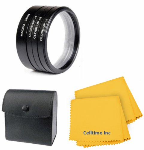 58MM Vivitar Macro Close-Up Filter Set (+1 +2 +4 +10) for CANON Rebel T5i T4i T3i T3 T2i T1i SL1, EOS 700D 650D 600D 550D 500D 1100D 100D + Celltime Elite Cleaning Cloth (Canon T3i Filters compare prices)