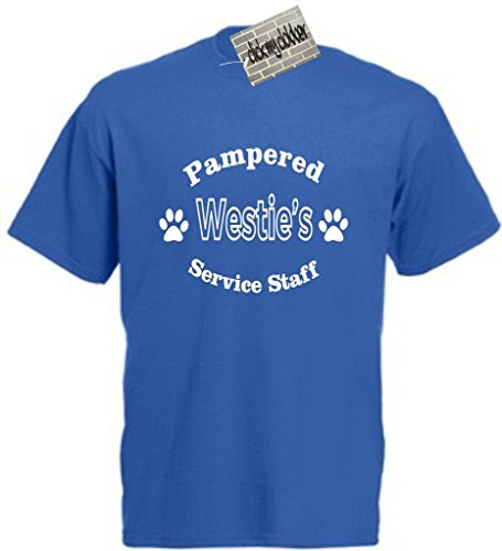 Click My Clobber Men's Pampered Westie Dog's Service Staff T-Shirt Medium Royal Blue