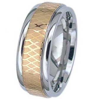 8MM High Polished Stainless Steel Ring With Gold Plated Center and Net Design