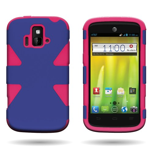Coveron® Hybrid Dynamic Dual Layer Tough Case For Zte Radiant / Sonata 4G - Blue Hard Hot Pink Soft Silicone