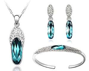Ninabox Cool Breeze Collection [CBC] -- White Gold Plated Alloy Jewelry Sets with Olive Shaped Blue Swarovski Elements Crystal. T000119
