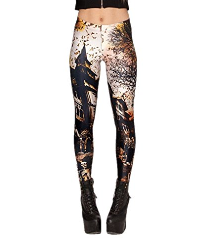 Women's Sexy Pirate Fitness Pants Digital Printing Haunted House 2.0 Leggings