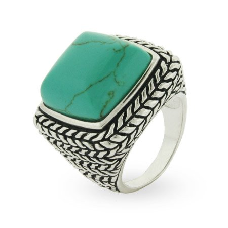Sterling Silver Bali Style Large Turquoise Ring Size 9 (Sizes 6 7 8 9 Available)