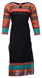 Zele Women's Cotton Straight Kurti (Z0026_Multi-Colour_Large)