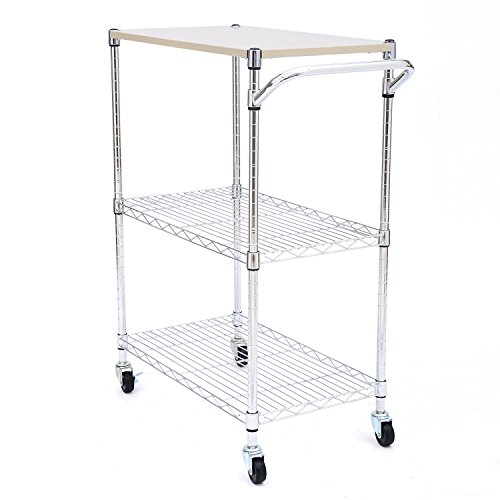 Tenive 24 Chrome Kitchen Cart 3 Tier Supreme Cart Metal