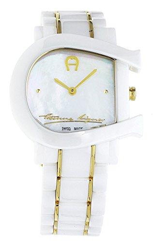 aigner damen uhr armbanduhr genua due wei keramik gold a31642 uhren. Black Bedroom Furniture Sets. Home Design Ideas