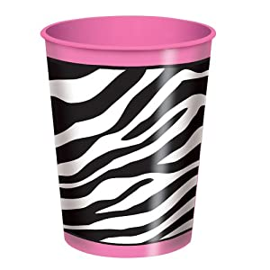 16oz Zebra Print Plastic Cup by Unique Party Favors