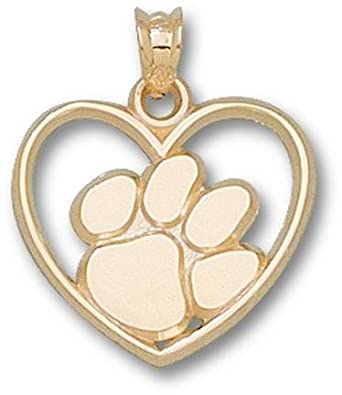 Clemson Tigers Paw Heart Pendant - 14KT Gold Jewelry by Logo Art