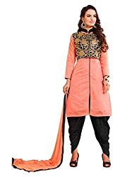 DnVeens Women's Chanderi Embroidered Chudidar Unstitched Dress Material