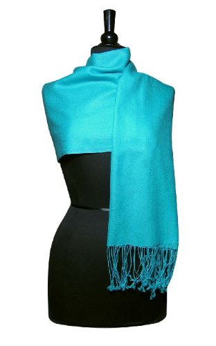 100% Pashmina Turquoise/Aqua Blue Shawl Wrap. Woman's Scarf.