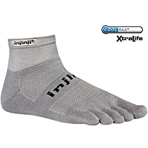 Injinji Run Original Weight Mini-Crew Xtralife Socks, Gray, X-Large