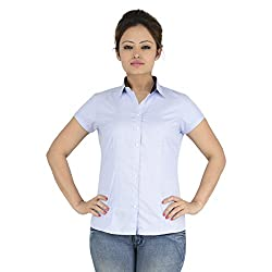 ELLE ET LUI Plain Colour Short Sleeve Shirts (LIGHT BLUE, Medium)