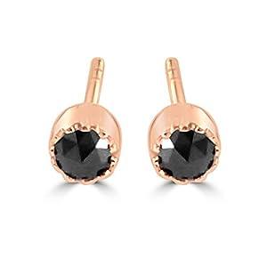 14K Rose Gold Black Diamond Stud Earrings 3mm Bezel