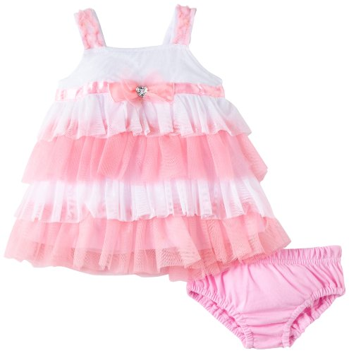 Nannette Baby-girls Newborn 2 Piece Dot Knit Dress And Panty, Pink, 0-3 Months