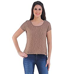 Meish Brown Solid Top for Women