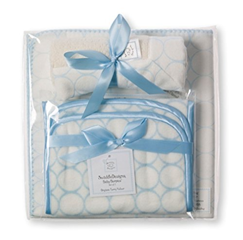 3 Piece Gift Set in Organic Pastel Mod Circles on Ivory Color: Pastel Blue