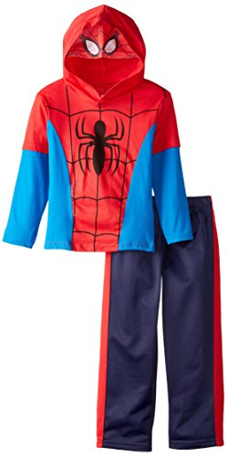 Marvel Little Boys' 4-7 Character Theme Spiderman Hooded Tricot Set with Mask, Red, 7