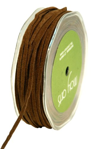 May Arts 1/8-Inch Wide Ribbon, Brown Suede String