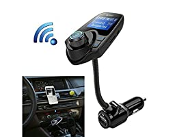 Enegg Wireless Bluetooth Hands-free Car Kit FM Transmitter Radio Adapter MP3 Music Player with Charger for iPhone iPad iPod, Samsung Galaxy, Motorola, Nexus LG Nokia Google Android Smartphone/ Tablet