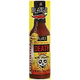 Blair's Death Sauce with Chipotle and Skull Key Chain, Original, 5 Ounce
