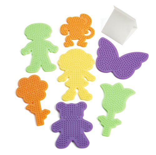 Perler Fuse Bead Pegboards 7-Pack-Boy/Girl/Bear/Monkey/Butterfly/2 Flowers - 1