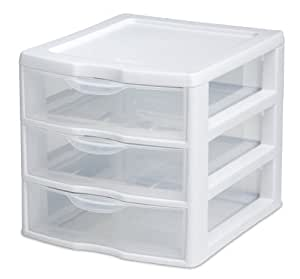 Sterilite 20738006 Clear View Mini 3-Drawer Organizer with White Frame and See-Through Drawers, 6-Pack