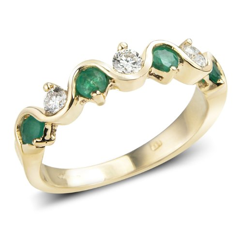 9ct 7 Stone Yellow Gold Ring set with Emeralds  &  Diamonds - RRP £525