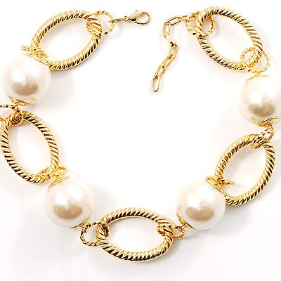 Gold Oval Links Pearl Choker