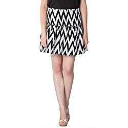 Instinct Women's Polyester Printed Skirts (AM020516_S, Black, White, Small)