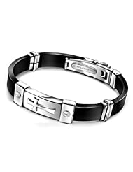 RUINUO Men's Stainless Steel Crossover-X Silicone Bracelet Bangle