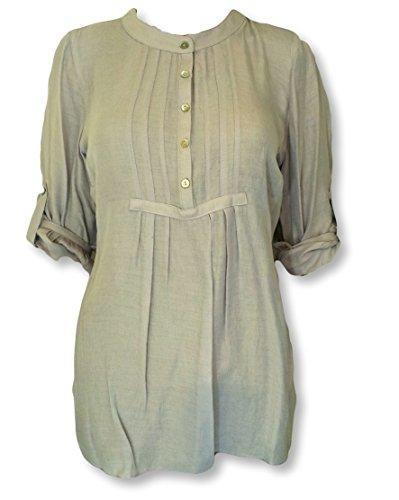 womens-ex-bon-marche-grigio-pintuck-camicetta-da-donna-top-con-turn-up-maniche-light-grey-40