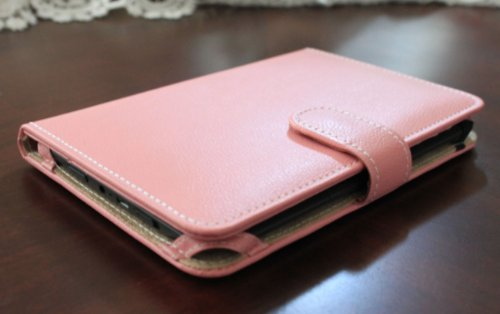 J-Tech Digital Baby Pink Synthetic Leather Amazon Kindle 3 (Fits 6