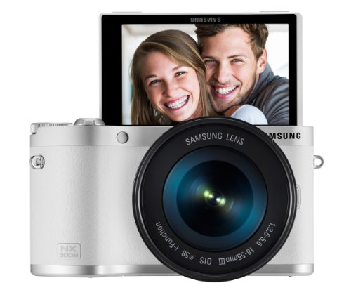 Samsung NX300M 20.3MP CMOS Smart WiFi & NFC Compact Interchangeable Lens Digital Camera with 18-55mm Lens and 3.3″ AMOLED Touch Screen (White) Special Offers