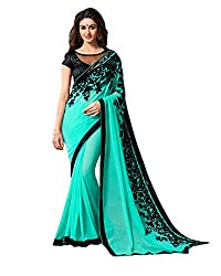 khanak export Women's Georgette Saree(KE_14_Multi-Coloured_Free Size)