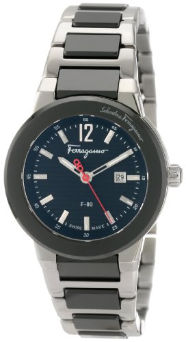Ferragamo Women's F53SBQ98909 S989 F-80 Quartz 3-Hands Black Ceramic Watch