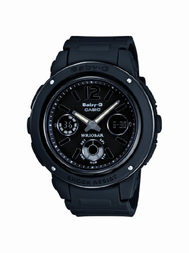 Casio Baby-G Ladies Quartz Watch with Black Dial Analogue - Digital Display and Black Resin Strap BGA-151-1BER