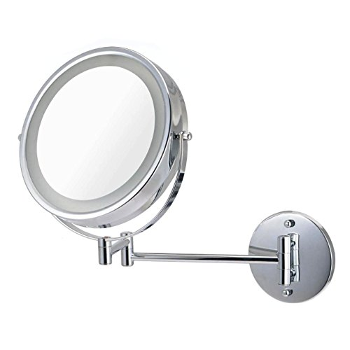 Ovente MFW85CH 8.5 inch Battery Operated LED Lighted Wallmount Vanity Makeup Mirror, 1x/10x Magnification, Polished Chrome