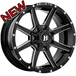 Ballistic 956 Razorback 20×9.0 Gloss Black & Milled Wheel 5x135mm 5×139.7mm (5×5.5) Bolt Pattern / +12mm Offset / 87mm Hub Bore