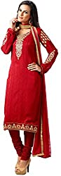 Shenoa Women's Faux Georgette Unstitched Dress Material(9502, Red)