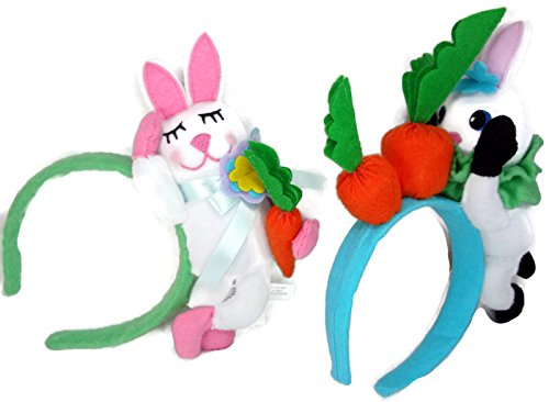 Child's Plush Easter Bunny Rabbit Headband- Set of 2