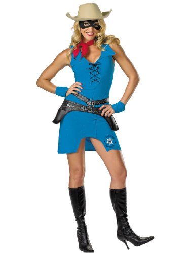 7 Piece Sexy Lone Ranger Costume Cow Girl Sherif Western Womens Theatrical Sizes: Large (Lone Cowboy Adult Costume)